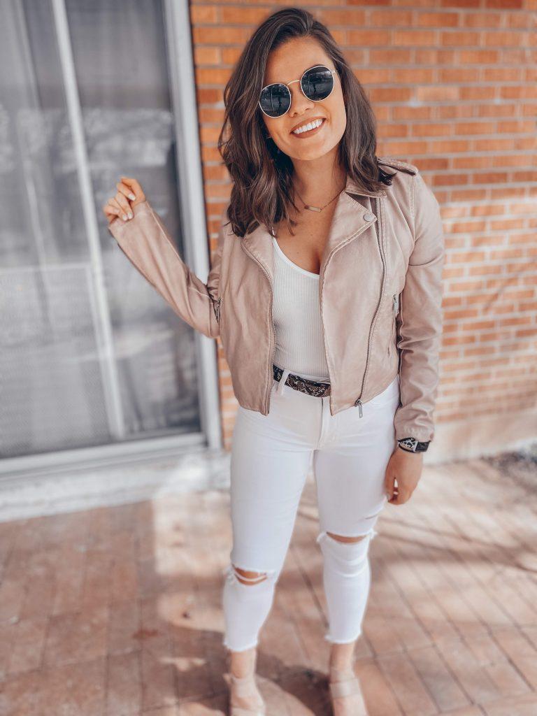 Amazon The Drop Pink Leather Jacket