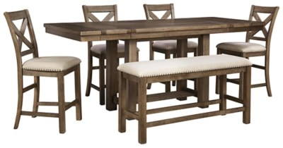 Moriville Counter Height Dining Table And 4 Barstools And Bench Set Ashley Furniture Homestore