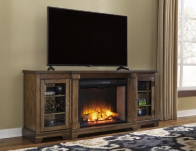 Flynnter 75 TV Stand With Electric Fireplace Ashley
