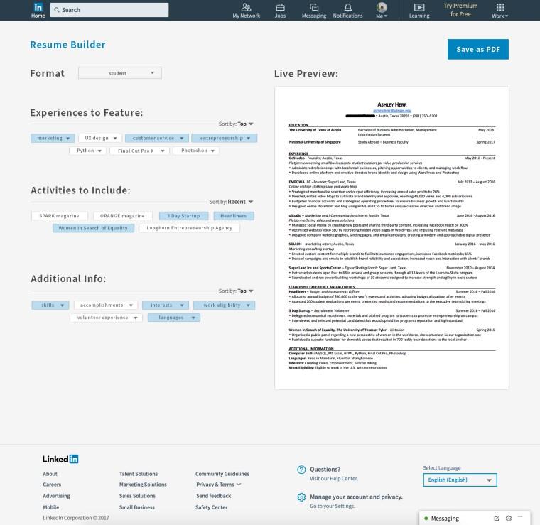 A Resume Builder For LinkedIn Ashley Herr