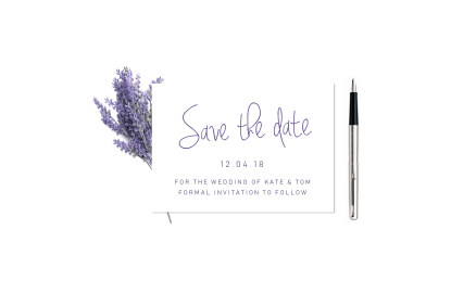 Lavender Handwriting Save the Date
