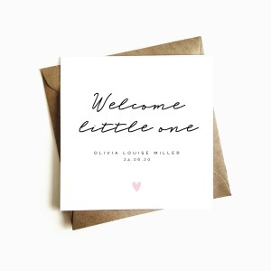 Personalised 'Welcome little one' New Baby Card