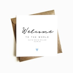 Personalised 'Welcome the the World' New Baby Card