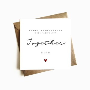 Personalised 'One year Together' Anniversary Card