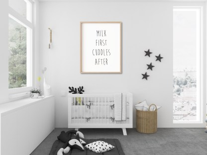 'Milk First Cuddles After' Nursery Print