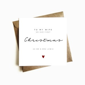 Personalised 'First Christmas as Mr & Mrs' WifeCard