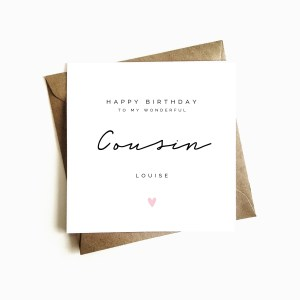 Personalised Cousin Birthday Card