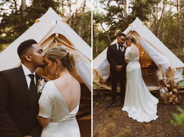 Close-up of bride and groom laughing together in front of wedding tent at Treehaus Colorado | Wedding portraits | Elopement portraits | Bride and groom elopement photos | Elopement wedding photos in Colorado | Colorado wedding photos | Colorado elopement photos | Elopement at Treehaus, Colorado |  Treehaus Colorado | Colorado elopement | Treehaus elopement | Colorado elopement venue | Colorado mountain elopement venue | Unique elopement venue | Elopement venue in Colorado | Ashley Joyce Photography 2020