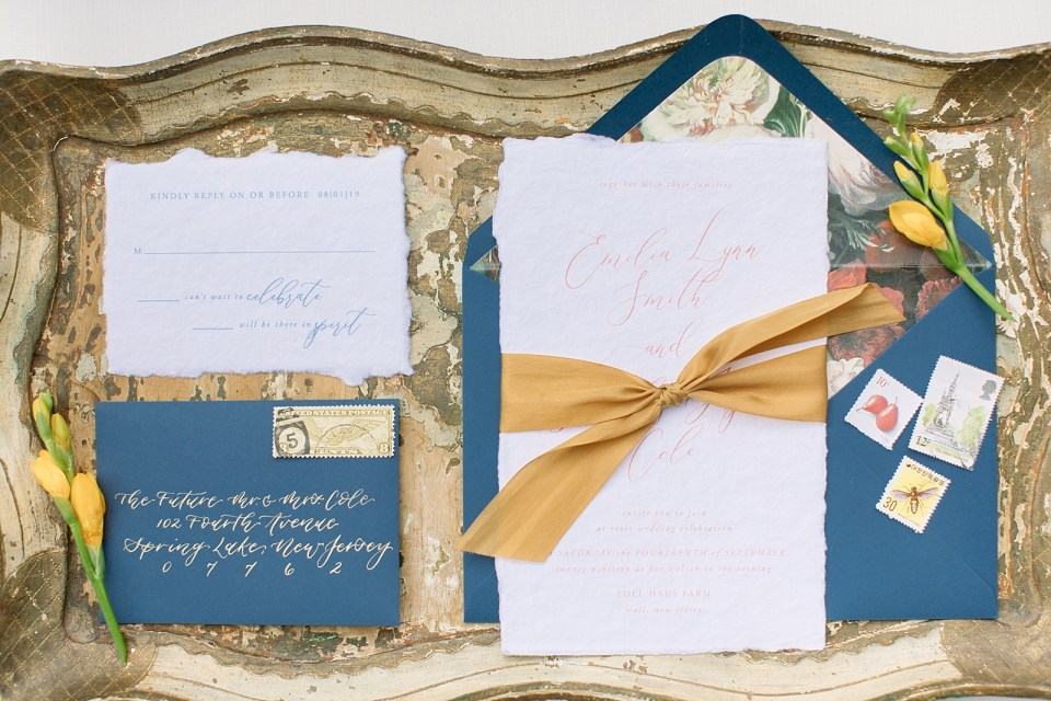 Navy and mustard wedding inspiration photographed by Ashley Mac Photographs at Edel Haus Alpaca F arm styled by Lou & Co Rentals and Johnson Jewelers