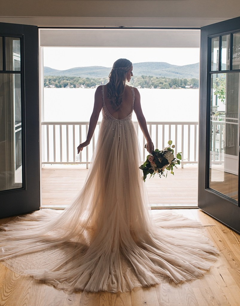 dramatic lakeside bridal portrait by Ashley Mac Photographs