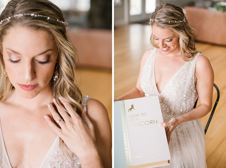 bride opens gift on wedding day in Berkshires with Ashley Mac Photographs