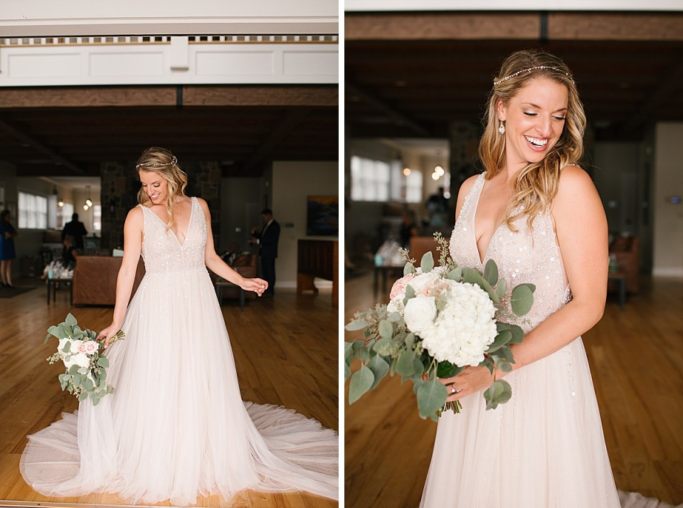 bride in vintage wedding gown photographed by Ashley Mac Photographs in Lake House