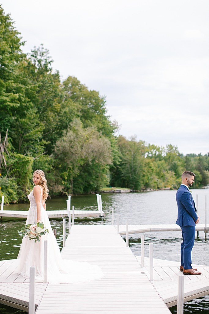 first look lakeside in MA with Ashley Mac Photographs