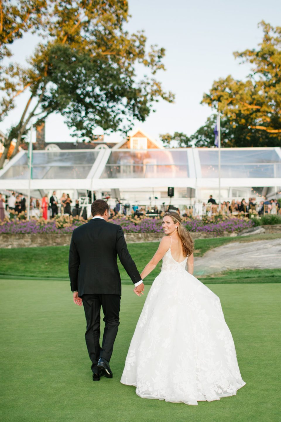 Apawamis Club Wedding reception outdoors photographed by Ashley Mac Photographs