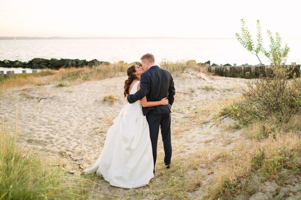 wedding photos on the beach with Ashley Mac Photographs in Sandy Hook NJ