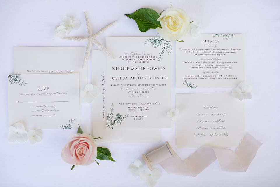 wedding stationery from Minted for Rumson Country Club Riverhouse wedding with Ashley Mac Photographs