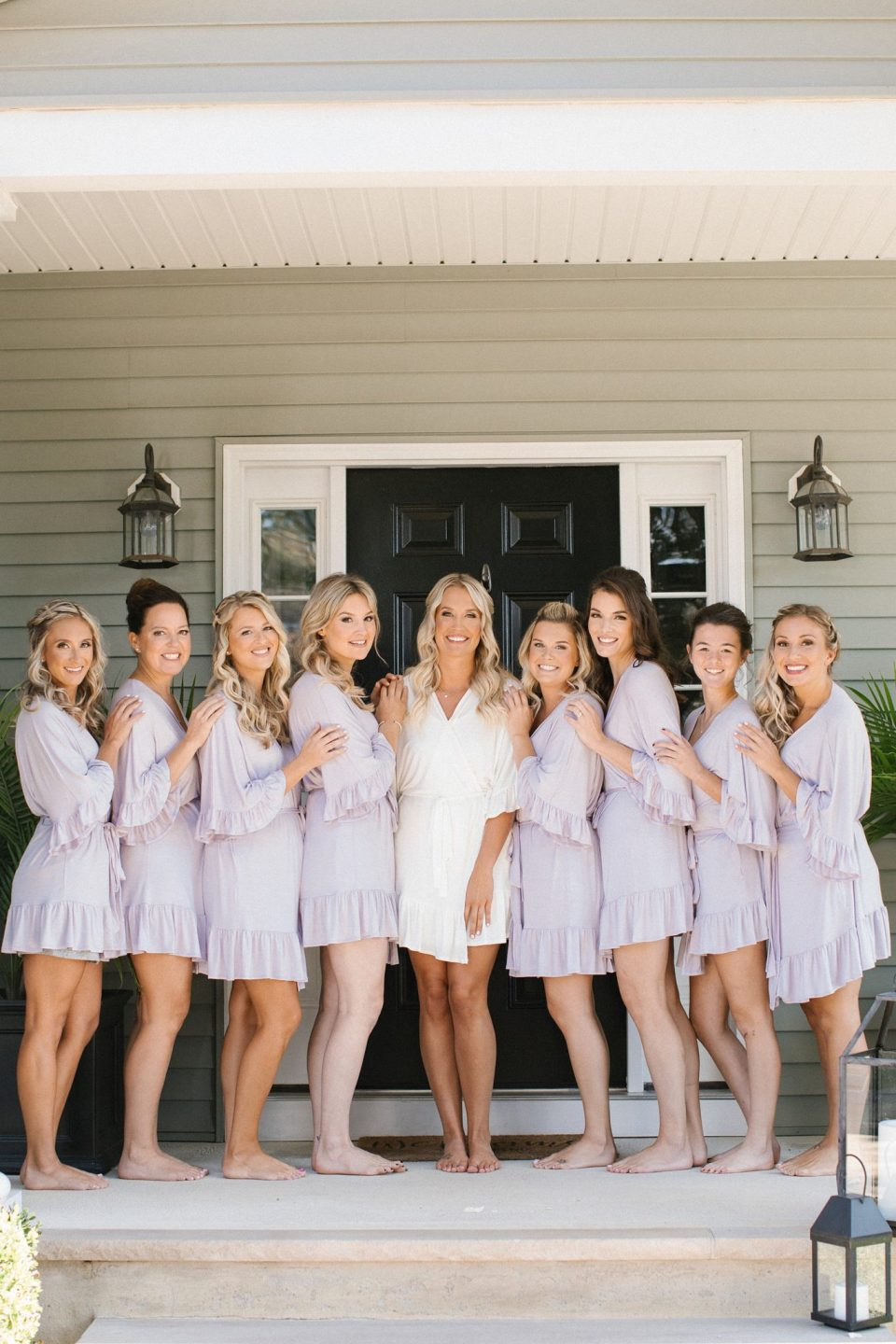 bridal party in robes before Shrewsbury NJ wedding photographed by Ashley Mac Photographs