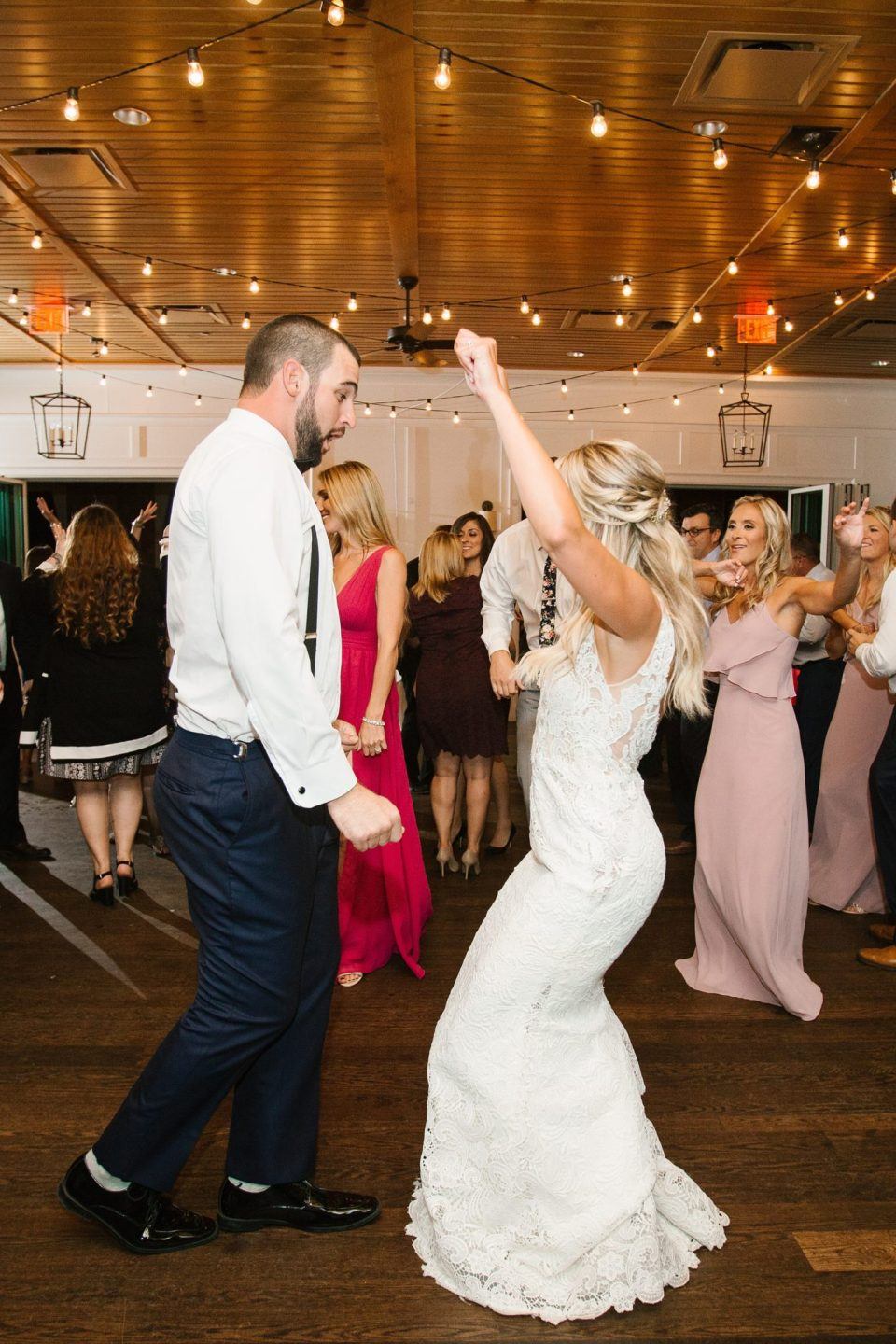 reception dancing at Rumson Country Club Riverhouse with Ashley Mac Photographs