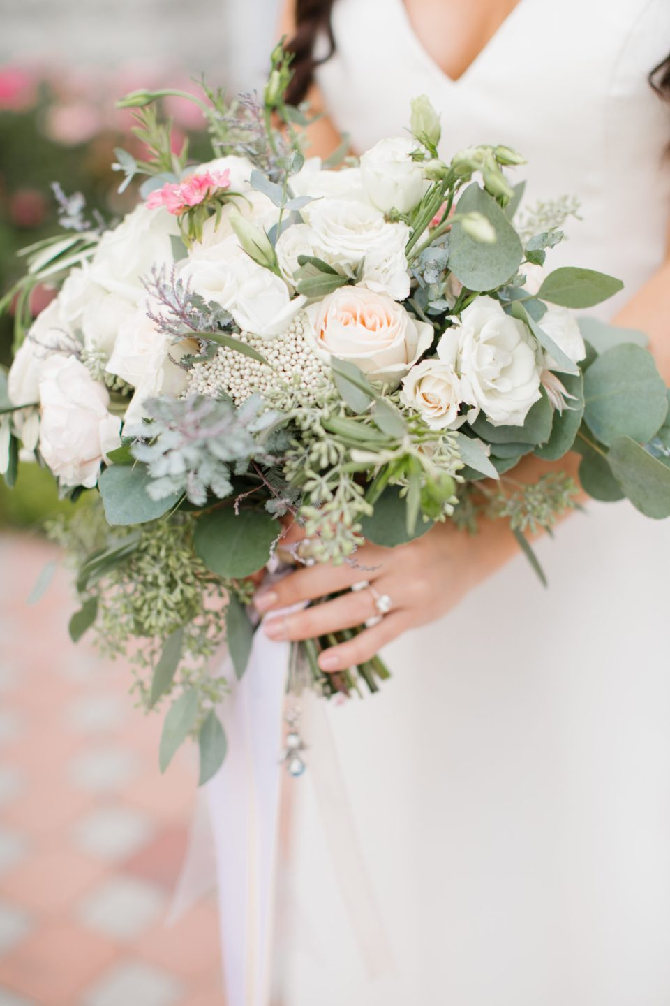 bride's pale pink wedding bouquet photographed by Ashley Mac Photographs