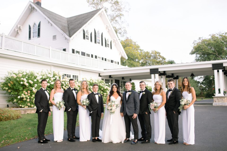 bridal party in black and white photographed by Ashley Mac Photographs