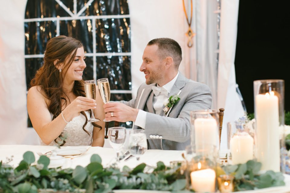 bride and groom toast during wedding reception photographed by Ashley Mac Photographs