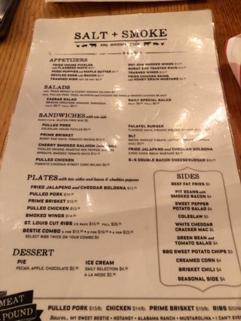 salt smoke menu