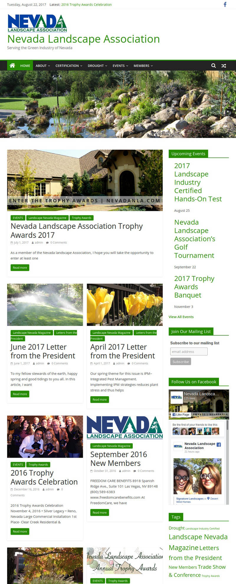 Decorative screenshot of Nevada Landscape Association website