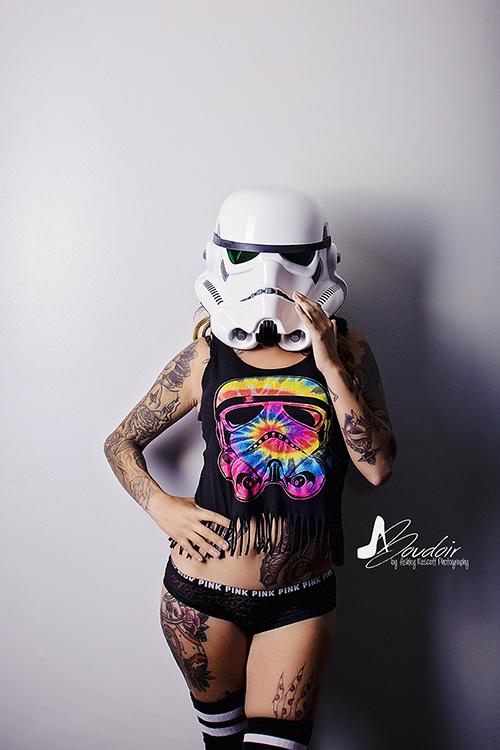 stormtrooper helmet with a stormtrooper tank top