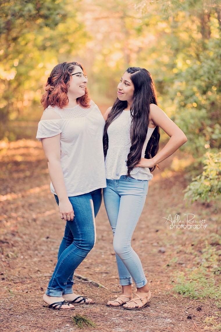 sisters in woods