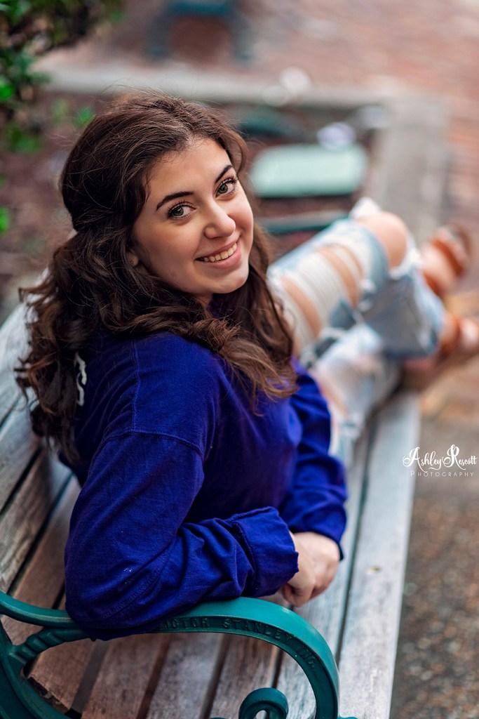teen girl on bench