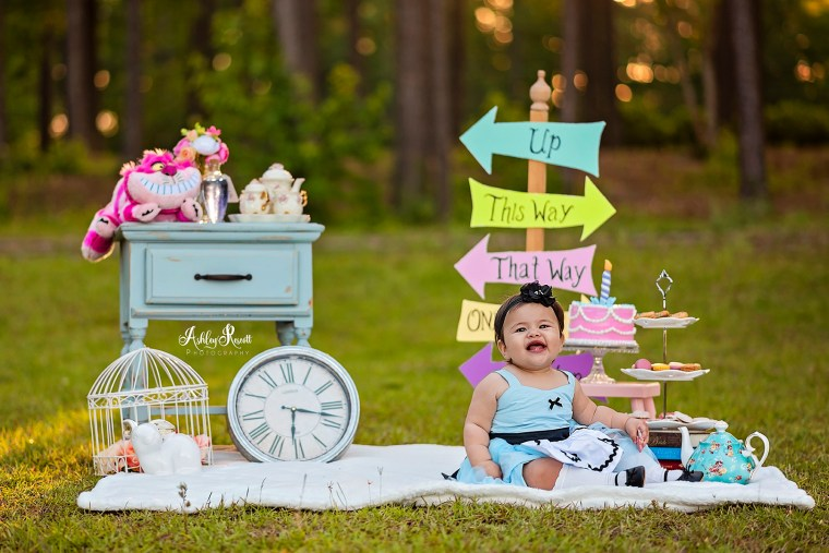 happy baby at tea party