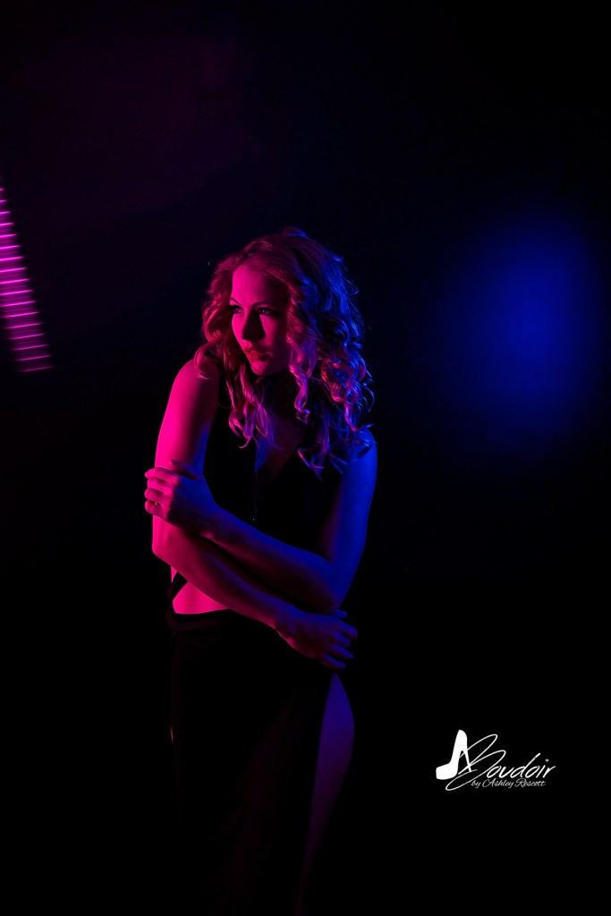 woman in neon light, in camera effects