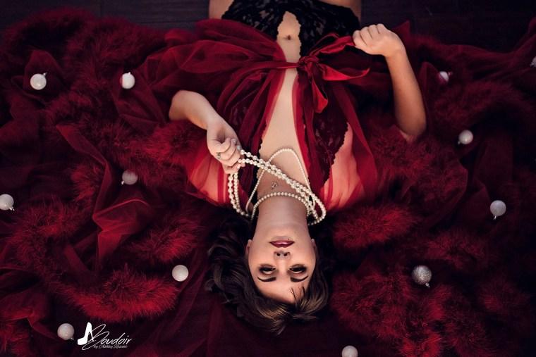 Portfolio image of holiday boudoir