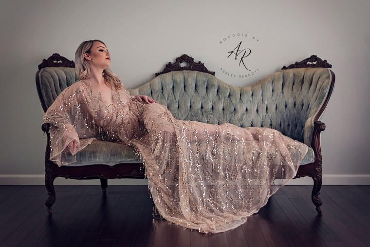 Portfolio image of natural light boudoir on couch