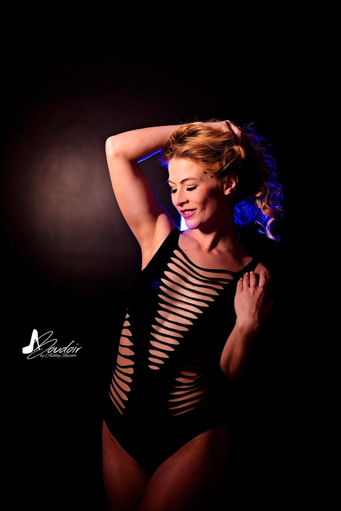 blonde model with blue backlight
