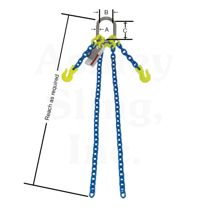 Double Loop Chain Sling with Dimensions
