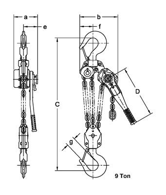 LB Lever Hoist 9T Dimension