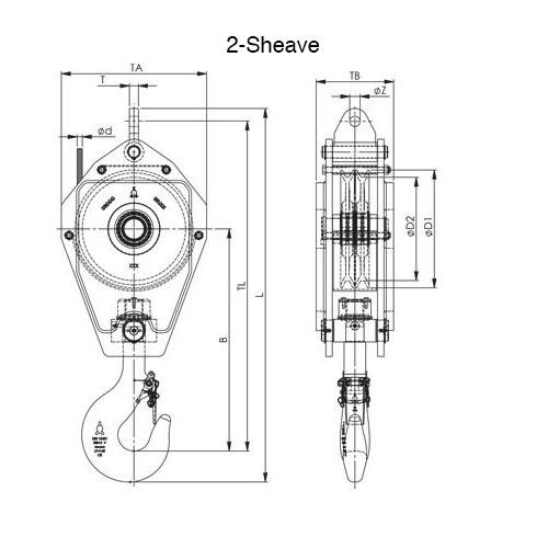 2 Sheave Standard Reeve Block Drawing