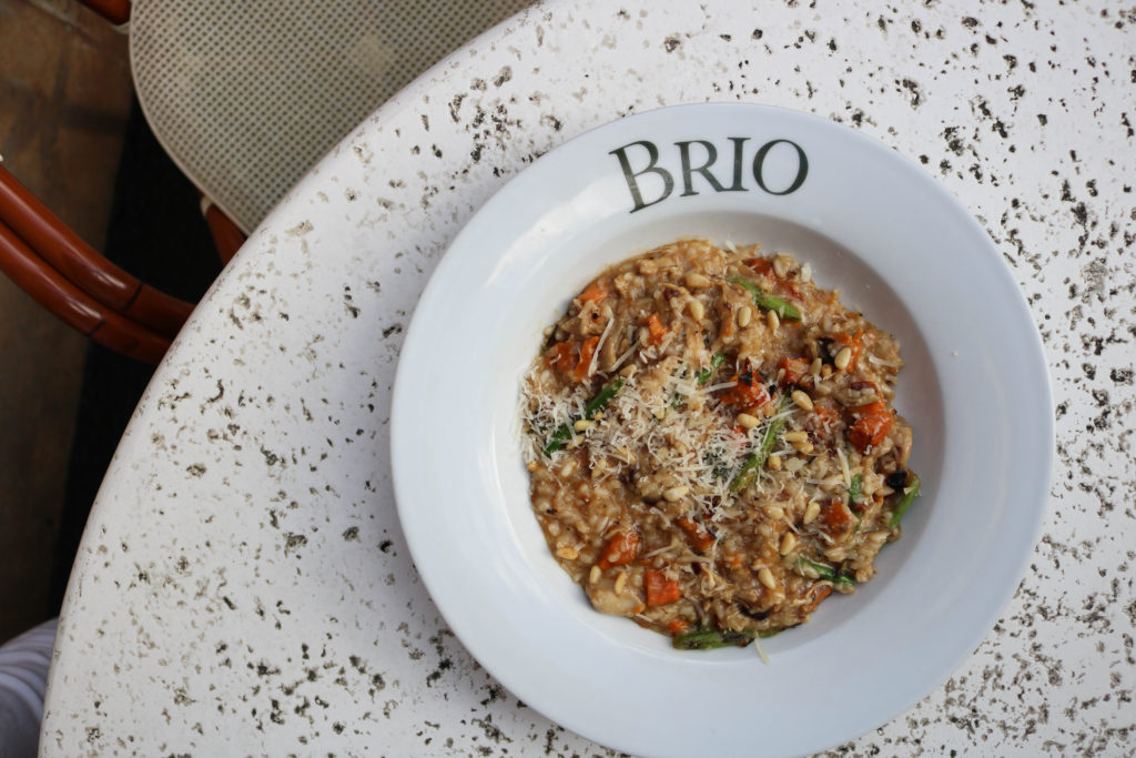 Brio Tuscan Grille Risotto Lobster Chicken Sweet Potato Beef Carpaccio Chocolate Lave Cake Bisque Tampa Food International Mall