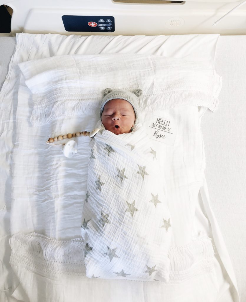 Popular Los Angeles life and style blogger, Ashley Hodges, shares her Birth Announcement for her baby boy, Ryser Sidney