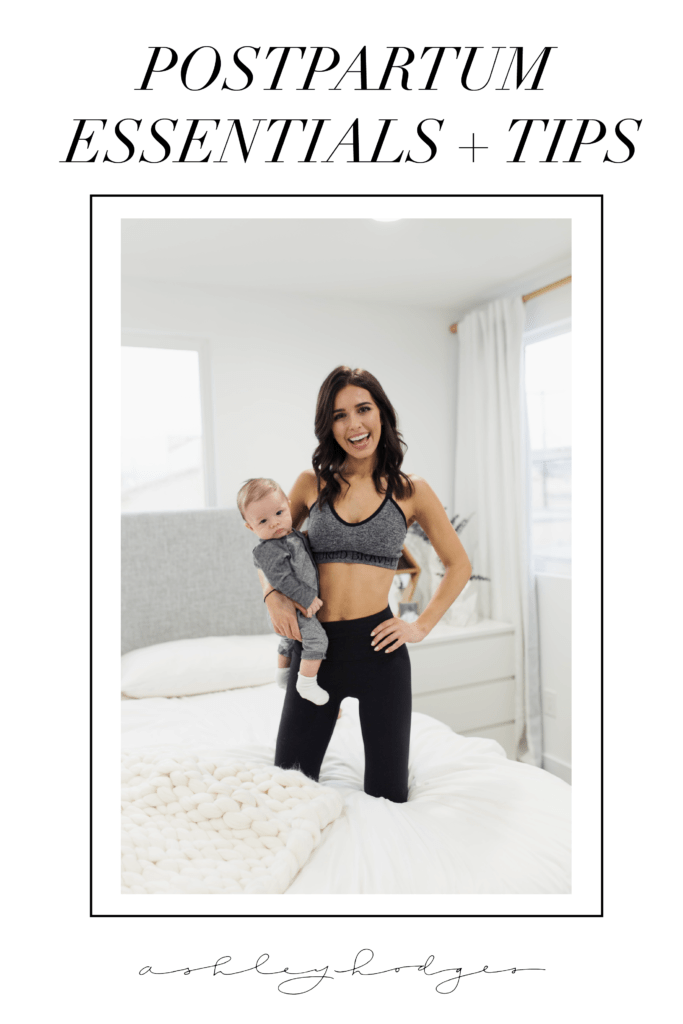 8 Postpartum Essentials + Top Tips to Organize your Life Post Baby featured by top US lifestyle blogger, Ashley Hodges: image of a woman wearing a Kindred Bravely Sublime sports nursing bra and Lulu Lemon Align Leggings