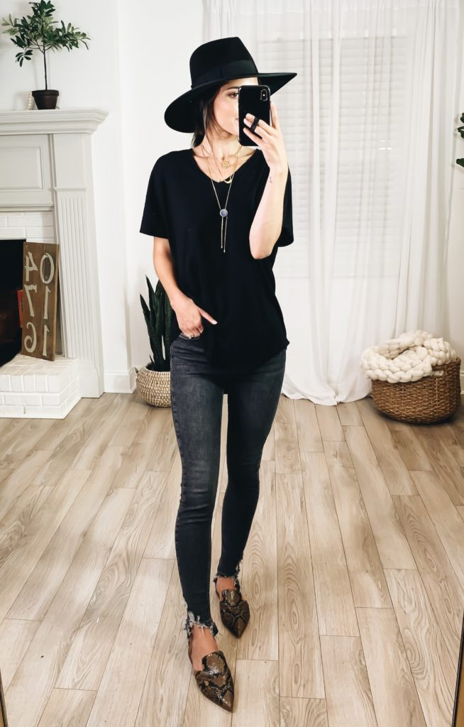 Nordstrom Anniversary Sale 2019 Try-On Haul by popular US fashion blogger, Ashley Hodges: image of woman standing inside her house wearing a Sleepy Lounge Tee, Jamie High Waist Ripped Hem Skinny Jeans, Nordstrom Toby Flat, Joanna III Wool Felt Hat Item Highlight: Joanna III Wool Felt Hat, Foretell Bolo Necklace, Goodnight Necklaces, and Nordstrom 3ct Cubic Zirconia Earrings.