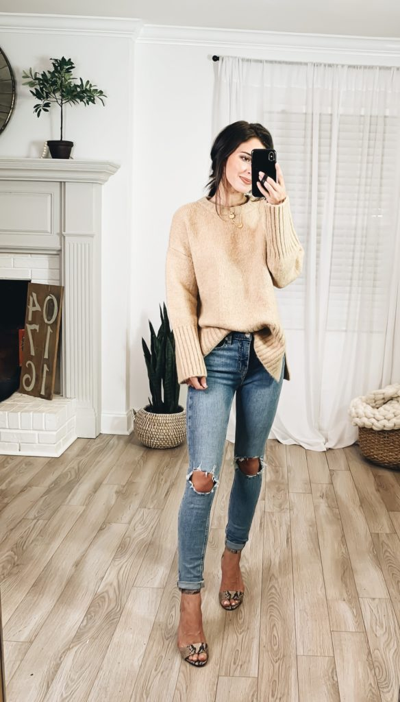Nordstrom Anniversary Sale 2019 Try-On Haul by popular US fashion blogger, Ashley Hodges: image of woman standing inside her house wearing a Ripped High Waist Skinny Jeans, Corlina Ankle Strap Sandal, Goodnight Necklaces, Nordstrom 3ct Cubic Zirconia Earrings, and Topshop Supersoft Deep Hem Crewneck Sweater.