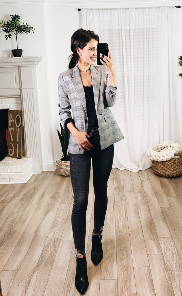 Nordstrom Anniversary Sale 2019 Try-On Haul by popular US fashion blogger, Ashley Hodges: image of woman standing inside her house wearing a Halogen Check Blazer, BP Lace Trim Satin Camisole Top, Topshop Jamie High Waist Ripped Hem Skinny Jeans, Goodnight Necklaces, and Nordstrom 3ct Cubic Zirconia Earrings.