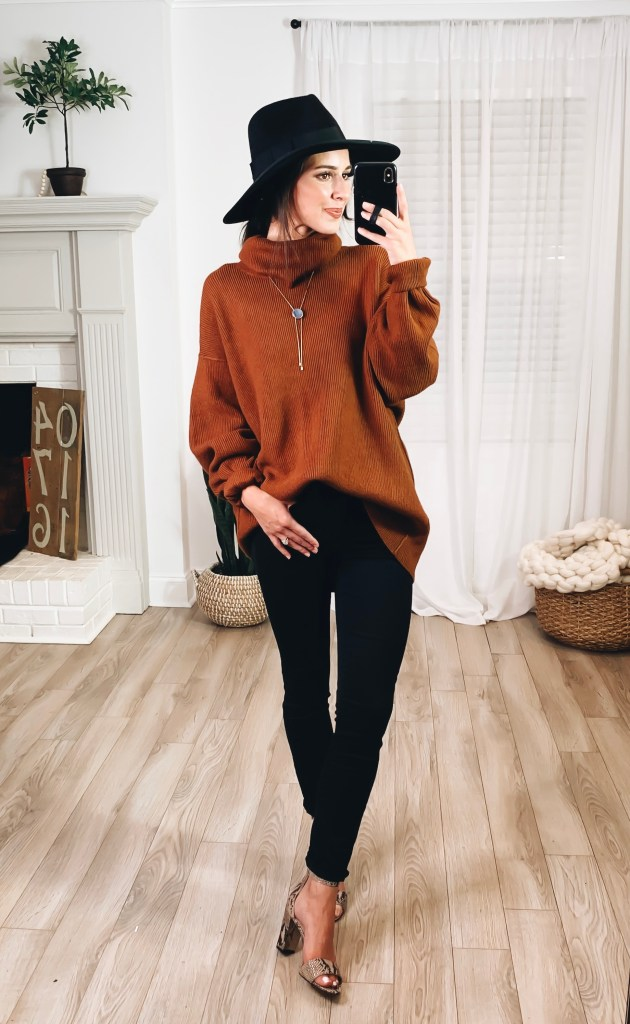 Nordstrom Anniversary Sale 2019 Try-On Haul by popular US fashion blogger, Ashley Hodges: image of woman standing inside her house wearing a Corlina Ankle Strap Sandal, Foretell Bolo Necklace, Joanna III Wool Felt Hat, Madewell 9-Inch Raw Hem Ankle Skinny Jeans, and Free People Softly Structured Knit Tunic.