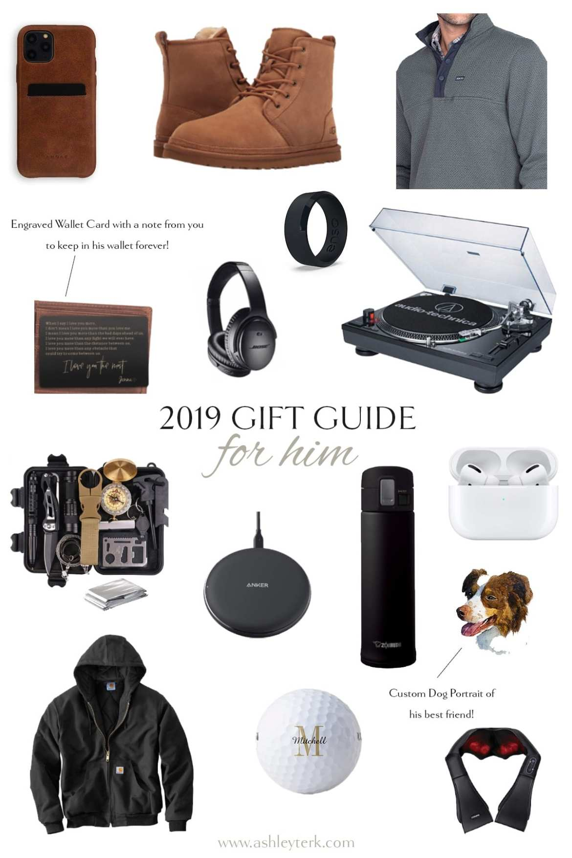 Gift Guide: 20 Unique Gifts for Him This Christmas by popular North Carolina life and style blogger, Ashley Terk: collage image of airpods, record player, silicone ring, personalized wallet, headphones, quarter zip up pullover, and personalized golf balls.
