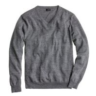 J.Crew Slim Heather Grey Cotton V-Neck Sweater
