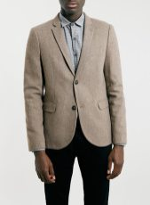 Topman Camel Flannel Skinny Blazer in Brown