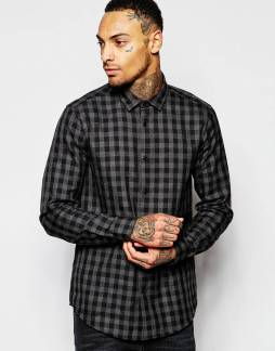ASOS - Shirt In Viscose With Gingham Check