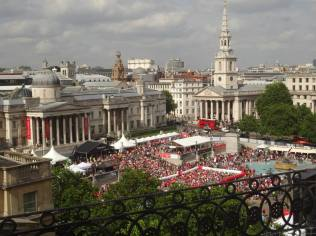 View of the festivities from the roof of the Trafalgar Hotel